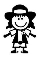 Stick Figure Cowgirl Decal