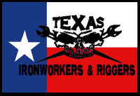 Texas Ironworkers and Riggers Hardhat Sticker #2