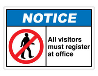 ANSI Notice All Visitors Must Register At Office