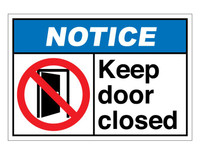 ANSI Notice Keep Door Closed