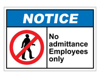 ANSI Notice No Admittance Employees Only