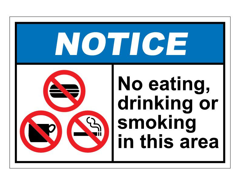 No Eating Or Drinking Signs Bumper Stickers