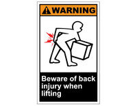 ANSI Warning Beware Of Back Injury When Lifting 1