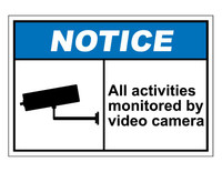 ANSI Notice All Activities Monitored By Video Camera