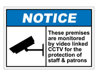 ANSI Notice These Premises Are Monitored By Video Linked CCTV