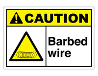 ANSI Caution Barbed Wire