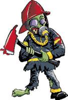 Zombie Firefighter Sticker