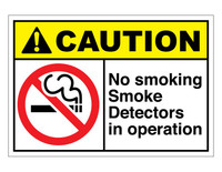 ANSI Caution No Smoking Smoke Detectors In Operation