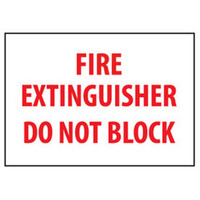 Fire Extinguisher Do Not Block Label (Red Letters / White Background)