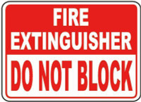 Fire Extinguisher Do Not Block Label (White & Red Letters)