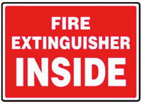 Fire Extinguisher Inside Label (White Lettering / Red Background)