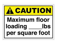 ANSI Caution Maximum Floor Loading ___lbs Per Square Foot
