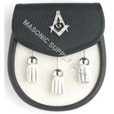 Black Leather with Goat Hair Masonic Sporran