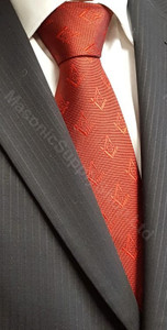 Crimson Red Tie with Hidden Weave Square and Compass