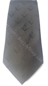 Black Tie with Hidden Weave Square and Compass