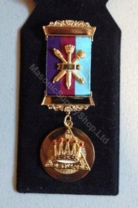 Royal Arch Past Z  2 bar Breast Jewel with Crossed Sceptors  Tri Coloured Ribbon