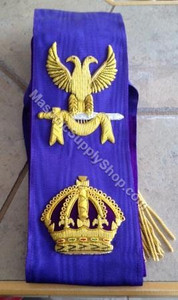 Red Cross of Constantine Grand Sovereign Sash with Crown and Eagle