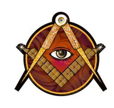 4 Inch Car Decal 3mm laminated Square & Compass with All Seeing Eye