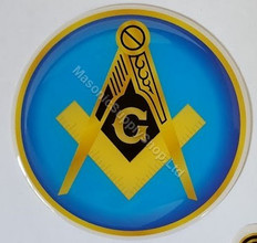 Car Decal  Gold Square and Compass on Light Blue