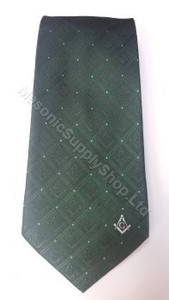 Dark Green Masonic Tie with Square & Compass Design
