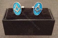 Cufflinks – Square and Compass on Blue