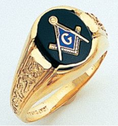 GOLD MASONIC BLUE LODGE RING WITH CHOICE OF STONE COLOUR