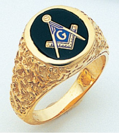 """GOLD BLUE LODGE MASONIC RING WITH """"NUGGET"""" DETAILING"""
