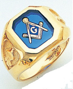 SQUARE FACE GOLD MASONIC BLUE LODGE RING WITH CHOICE OF STONE COLOUR AND SIDE EMBLEMS