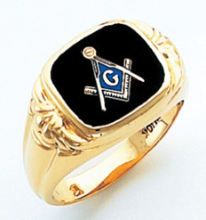 SQUARE FACE GOLD MASONIC BLUE LODGE RING WITH CHOICE OF STONE COLOUR HOM388BL