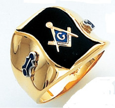 HOM505BL FLAG SHAPED FACE GOLD MASONIC BLUE LODGE RING WITH CHOICE OF STONE COLOUR AND SIDE EMBLEMS