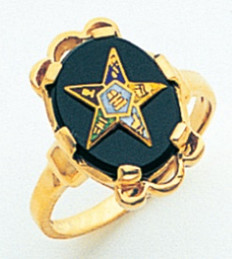 GOLD PLATED EASTERN STAR RING WITH ONYX CENTRE MAS57359O