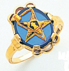 GOLD PLATED EASTERN STAR RING WITH BLUE CENTRE MAS57359B