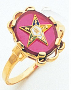 GOLD PLATED EASTERN STAR RING WITH RED CENTRE MAS57359R