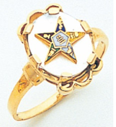 GOLD PLATED EASTERN STAR RING WITH OPAL CENTRE MAS57359M