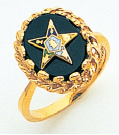 GOLD PLATED EASTERN STAR RING WITH ONYX CENTRE MAS57358O