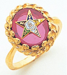 GOLD PLATED EASTERN STAR RING WITH RED CENTRE MAS57358R