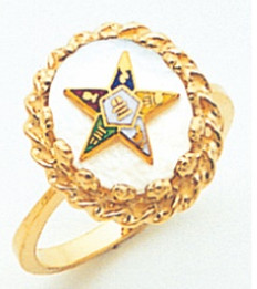 GOLD PLATED EASTERN STAR RING WITH OPAL CENTRE MAS57358M