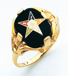 ROUND GOLD EASTERN STAR RING WITH BLACK ENAMEL CENTRE AND COLOUR DETAILING HOM464ES