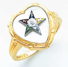 HEART SHAPED EASTERN STAR GOLD RING WITH COLOURED STAR DETAILING AND WHITE ENAMEL CENTRE HOM461ES