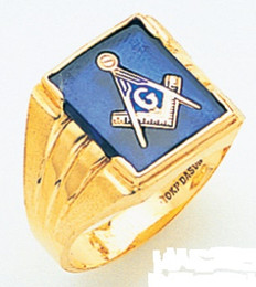 LARGE SQUARE FACED GOLD BLUE LODGE MASONIC RING WITH STONE COLOUR CHOICE MAS2271BL