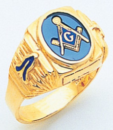 OVAL GOLD BLUE LODGE MASONIC RING WITH STONE COLOUR CHOICE AND EMBLEMS MAS1757BL