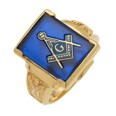 Large Rectangular Gold & Blue Masonic Ring with Stone & Emblem Choice MAS1158BL