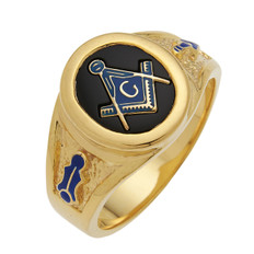 ROUND GOLD BLUE LODGE MASONIC RING WITH STONE COLOUR CHOICE AND EMBLEMS MAS60341BL