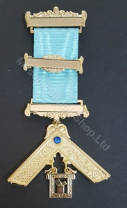 Past Master  Breast  Jewel  3 bars & Blue Stone