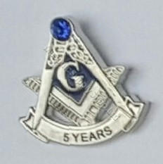 Masonic Anniversary  5 Year Lapel Pin