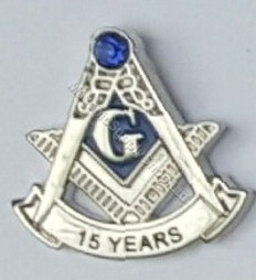Masonic Anniversary  15 Year Lapel Pin