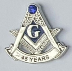 Masonic Anniversary  45 Year Lapel Pin