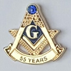 Masonic Anniversary  55  Year Lapel Pin