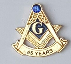 Masonic Anniversary  65  Year Lapel Pin