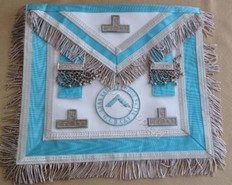 Silver  Apron  with Fringe & Silver  Lodge Badge and  Blue Officer Emblem